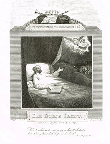 "Blomfield's Impartial Expsitor & Bible - ""FRONTISPIECE - THE DYING SAINT"" - Engraving - 1815"