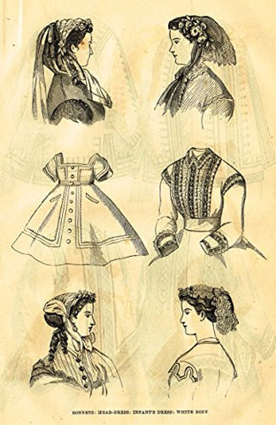 Harper's Magazine's - BONNETS - HEAD DRESS - Lithograph - c1860