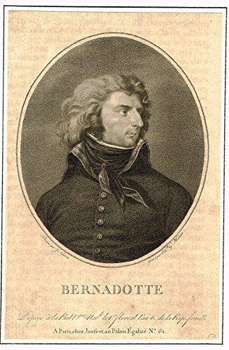 "Antique Portrait - ""BERNADOTTE"" - Engraving - 1800"