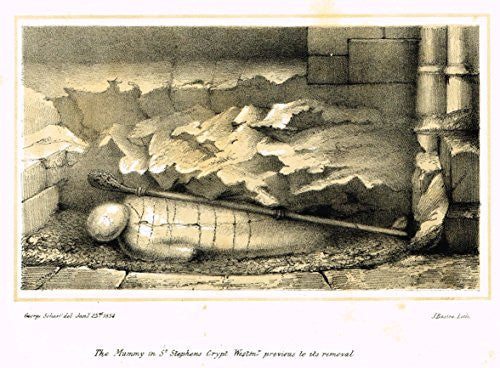 "Archaeologia's Antiquity - ""THE MUMMY IN ST. STEPHENS CRYPT"" - Engraving - 1852"