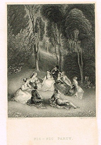 Miniature Print - PIC-NIC PARTY by Allen - Steel Engraving - c1850