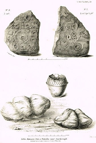 Archaeologia's Antiquity - CELTIC REMAINS FROM A TUMULUS NEAR SCARBOROUGH - Engraving - 1852