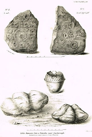 "Archaeologia's Antiquity - ""CELTIC REMAINS FROM A TUMULUS NEAR SCARBOROUGH"" - Engraving - 1852"