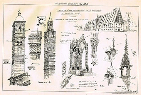 "Building News' - ""SKETCHBOOK OF AN ARCHITECT"" - Lithograph - 1885"