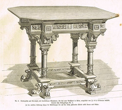 Baumer's 'Gewerbehalle'- FOOTED & WINGED OCTOGONAL TABLE - c1870