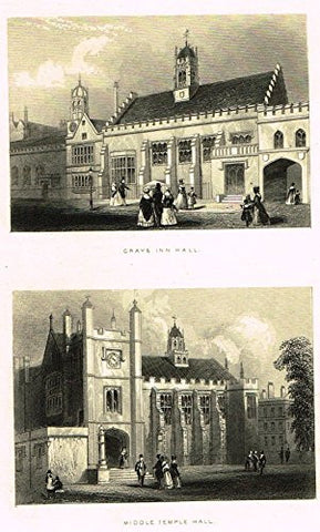 "Tallis's London - ""GRAYS INN HALL & MIDDLE TEMPLE HALL"" - Steel Engraving - 1851"