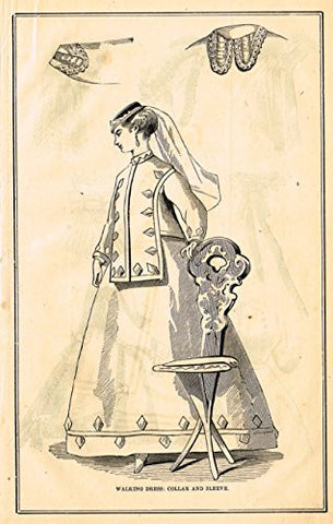 Harper's Magazine's - COLLAR AND SLEEVE - Lithograph - c1860