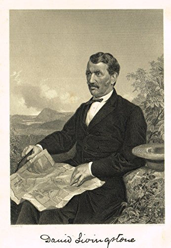 "Portrait Gallery - ""DAVID LIVINGSTONE"" - Steel Engraving - 1874"