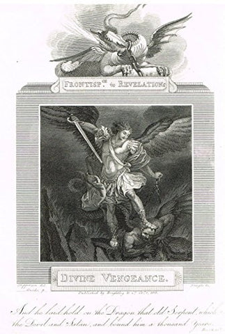 "Blomfield's Impartial Expsitor & Bible - ""FRONTISPIECE - DIVINE VENGEANCE"" - Engraving - 1815"
