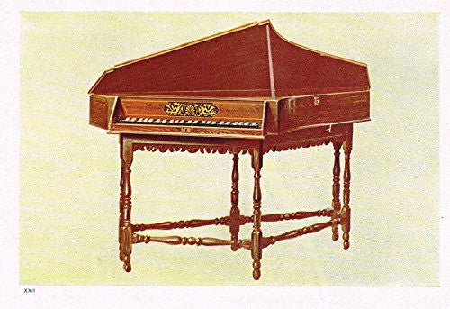 "Hipkins Musical Instruments - ""Striking Spinet"" - Stipple Chromolithograph - 1923"