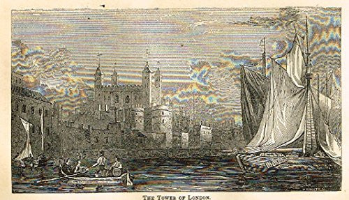 "Abott's Queen Elizabeth - ""THE TOWERS OF LONDON"" - Wood Engraving - 1869 - Sandtique-Rare-Prints and Maps"
