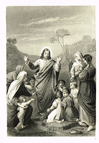 Miniature Religious Print - JESUS WITH LITTLE CHILDREN - Engraving - c1850