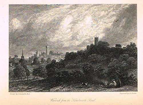 "Waverley's Keepsake - ""WARWICK FROM KENILWORTH ROAD"" - Steel Engraving - 1853"