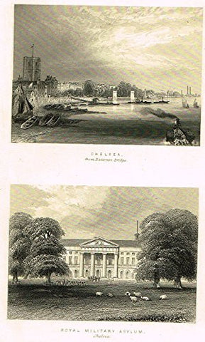 "Tallis's London - ""CHELSEA & ROYAL MILITARY ASYLUM"" - Steel Engraving - 1851"