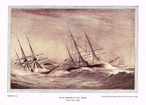 History of Our Country - NAVAL DISASTER AT APIA, SAMOA - Photogravure - 1899