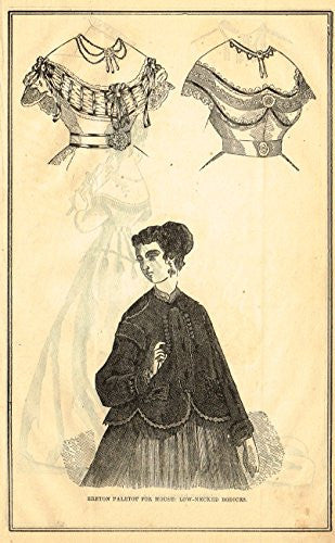 Harper's Magazine's - LOW NECKED BODICES - Lithograph - c1860