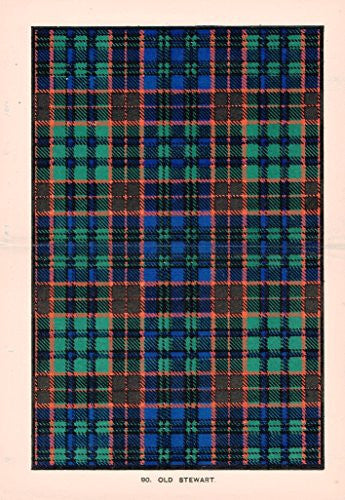 "Johnston's Scottish Tartans - ""OLD STUART"" - Chromolithograph - c1899"