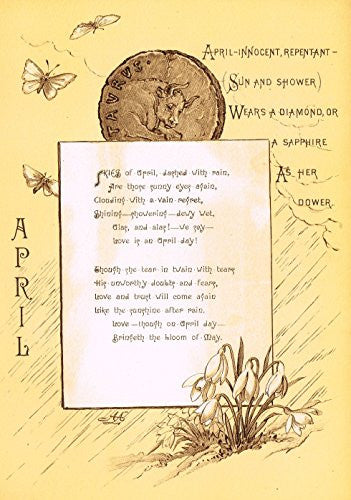"Mary A. Lathbury's Monthly Poems - ""APRIL POEM"" - Tinted Chromolithograph - 1885"