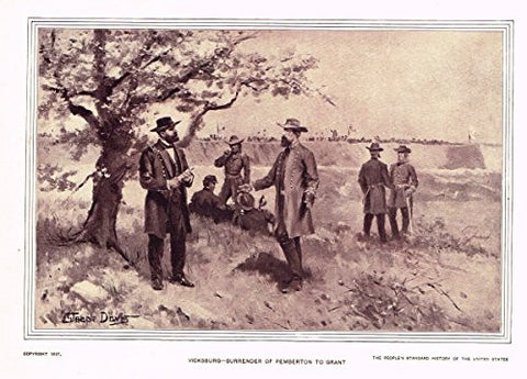 History of Our Country - SURRENDER OF PEMBERTON TO GRANT - 1841 TO 1869 - Lithograph - 1899