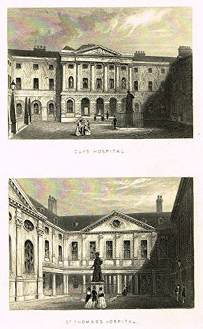 "Tallis's London - ""GUYS HOSPITAL & ST. THOMAS'S HOSPITAL"" - Steel Engraving - 1851"