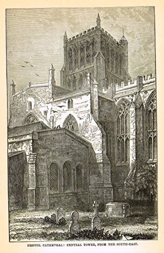 Our National Cathedrals - GLOUCESTER CATHEDRALE - Wood Engraving - 1887