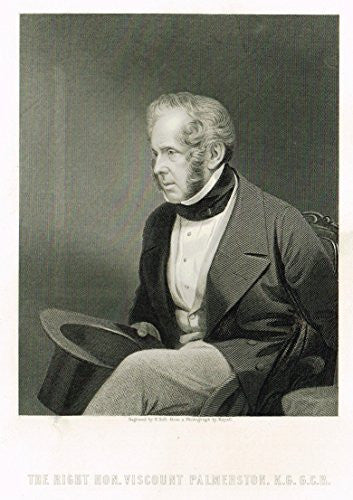 "Portrait - ""THE RIGHT HONORABLE VISCOUNT PALMERSTON"" by Holl - Steel Engraving - c1840"