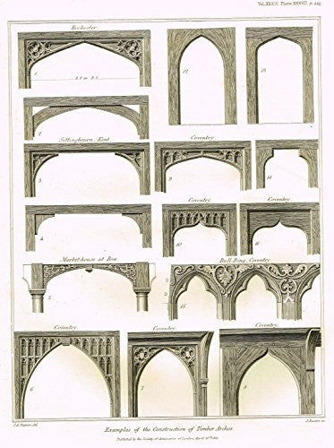 "Archaeologia's Antiquity - ""EXAMPLES OF THE CONSTRUCTION OF TIMBER ARCHES"" - Engraving - 1852"