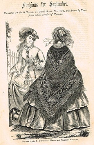 Harper's Magazine's - FASHIONS FOR SEPTEMBER - Lithograph - c1860