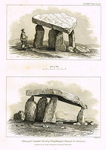 "Archaeologia's - ""YSTUMCEGID CROMLECH PARISH OF LLANFIHANGEL-Y-PENNANT, CO. "" - Engraving - 1852"
