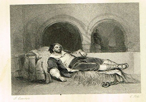 "Cattermole's 'Haddon Hall' - ""THE SLEEPING CAPTIVE"" - Miniature Steel Engraving - 1860"