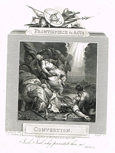 "Blomfield's Impartial Expsitor & Bible - ""FRONTISPIECE - CONVERTION"" - Engraving - 1815"