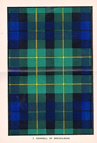 "Johnston's Scottish Tartans - ""CAMPBELL OF BREADALBANE"" - Chromolithograph - c1899"