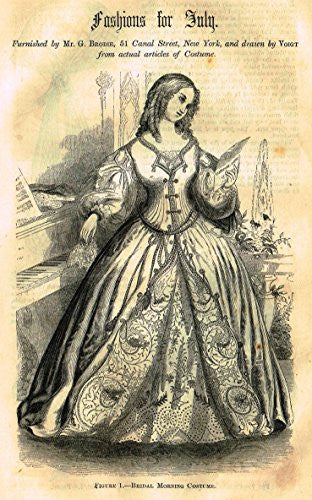 Harper's Magazine's - FASHIONS FOR JULY - Lithograph - c1860