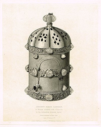 "Shaw's Ancient Furniture - ""ANCIENT SAXON LANTERN"" - Large Steel Engraving - 1836"