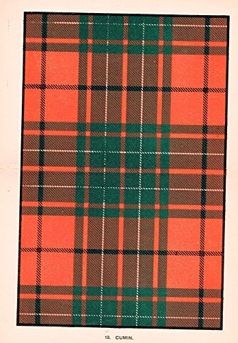 "Johnston's Scottish Tartans - ""CUMIN"" - Chromolithograph - c1899"