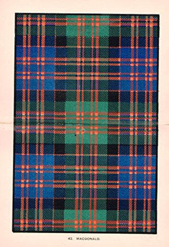 "Johnston's Scottish Tartans - ""MACDONALD"" - Chromolithograph - c1899"