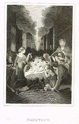 "Burkitt's Book of Common Prayer - ""NATIVITY"" - Copper Engraving - 1820"