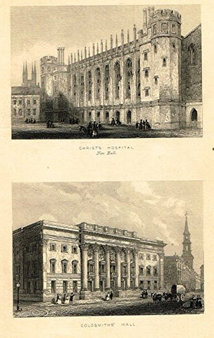 "Tallis's London - ""CHRIST'S HOSPITAL & GOLDSMITH'S HALL"" - Steel Engraving - 1851"