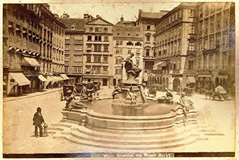 "Albumen View of Vienna, Austria - ""BRUNNEN AM NEUEN MARKT."" - c1880 - Sandtique-Rare-Prints and Maps"
