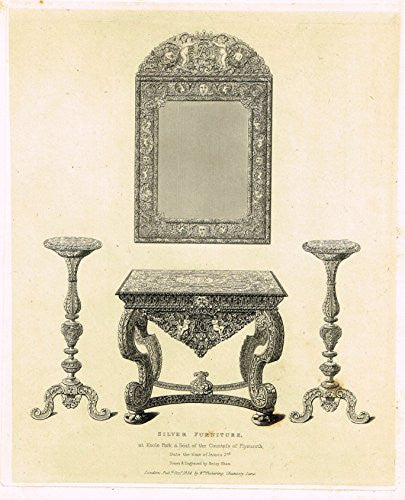 "Shaw's Ancient Furniture - ""SILVER FURNITURE"" - Large Steel Engraving - 1836"