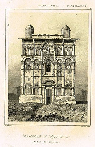 "Bas's France Encyclopedique - ""CATHEDRALE D'ANGULEMA"" - Steel Engraving - 1841"
