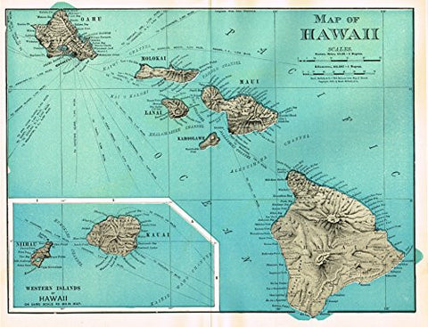 History of Our Country - Map - MAP OF HAWAII - Chromolithograph - 1899