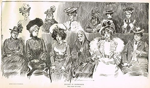 "The Gibson Book - ""WHEN WOMEN ARE JURORS"" - Lithographic Sketch - 1907"