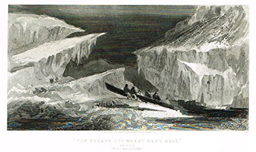 "Kane's Arctic Explorations - ""THE ESCAPE OFF WEARY MEN'S REST"" - Steel Engraving - 1856"