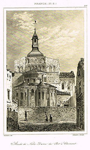 "Bas's France Encyclopedique - ""ABSIDE DE NOTRE DAME DU PORT A CLERMONT"" - Steel Engraving - 1841"