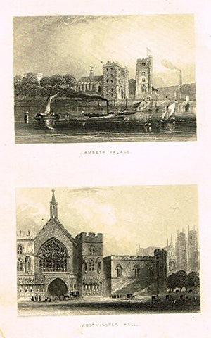 "Tallis's London - ""LAMBETH PALACE & WESTMINSTER HALL"" - Steel Engraving - 1851"