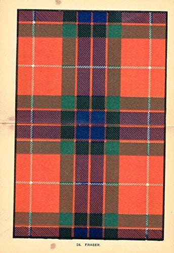 "Johnston's Scottish Tartans - ""FRASER"" - Chromolithograph - c1899"