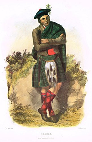 Clans & Tartans of Scotland by McIan - GRAHAM - Lithograph -1988