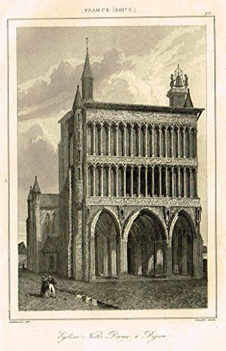 "Bas's France Encyclopedique - ""EGLISE NOTRE DAME A DIJON"" - Steel Engraving - 1841"