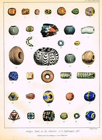 "Archaeologia's Antiquity - ""ANTIQUE BEADS IN THE COLLECTION OF B. NIGHTINGALE"" - Engraving - 1852"